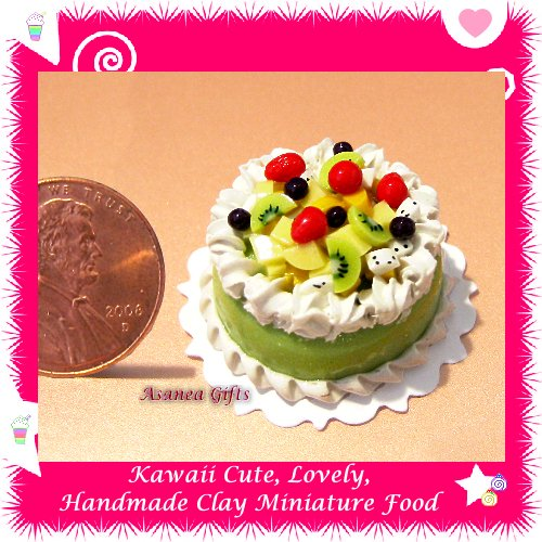 DOLLHOUSE MINIATURE GREEN TEA BIRTHDAY CAKE W/ TROPICAL FRUIT (ECDMF-CK3013)