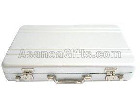 WHOLESALE DISCOUNT - BUSINESS CARD CASE / CREDIT CARD HOLDER - BRIEFCASE DESIGN SILVER (200 PCS)