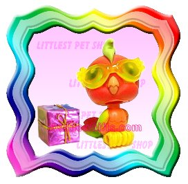 LITTLEST PET SHOP AROUND THE WORLD SERIES LOOSE FIGURE - TROPICAL ORANGE PARROT PARAKEET BIRD #394