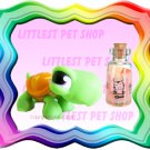 NEW LITTLEST PET SHOP LOOSE FIGURE - JACK O' LANTERN GREEN TURTLE # 433 FREE MINI MESSAGE BOTTLE !