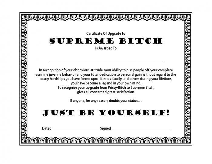 Certificate of Upgrade - Supreme Bitch