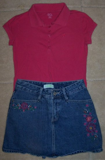 Girls CIRCO Jean SKORT 10/12 SO Pink SS Shirt Outfit