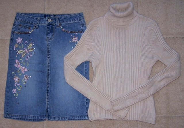ANGELS Jean Skirt Knee Length Stretch Embellished 1