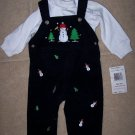NWT Boys 2PC Snowman Overalls Outfit Winter Holiday 6/9M