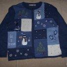 NWT CROFT & BARROW Zip Front Snowman Sweater PM