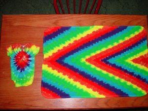 Tye Dye Baby Onesies 12 mnth and Tharmal Blanket Handmade One of a Kind!!