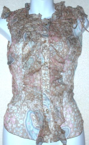 KENZIE  Womens silk sheer sleeveless blouse  Size 6