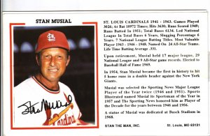 Stan Musial Autograph Signed photocard! Cardinals