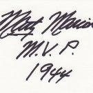 Marty Marion Autograph Signed index card! St. Louis Cardinals INSCRIBED