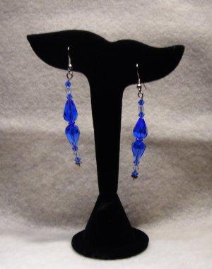 LC985E - Capri Blue and Clear Swarovski Earrings