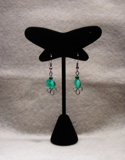 LC981E - Sea Green Oval Beaded Earrings