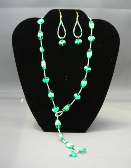 LC957S - Sea Green Lasso Style Necklace and Earring Set