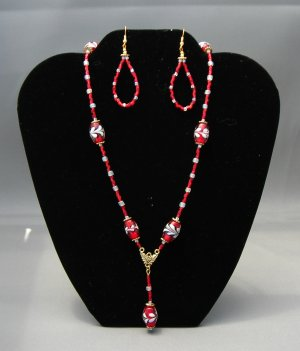 LC941S - Feather Red Necklace and Earrings