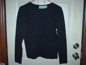 Long Sleeve Women's Black Shirt with Gold Stripes Size Small Used
