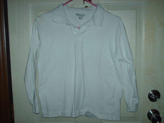 White Used Basic Editions Collared Shirt Unisex Kid's Size 10/12
