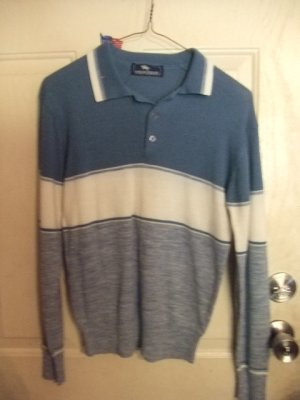 Gently Worn Boy's Blue and White Light-Weight Sweater Shirt with Collar Size Large