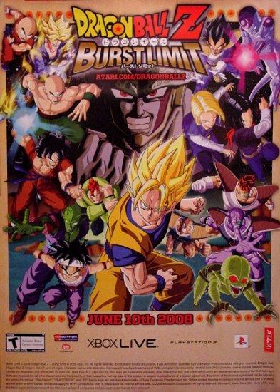Dragon Ball Z BURST LIMIT Original Game Poster SET 3' x 4' Rare 2008 MINT