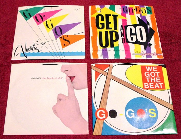 GO GO's Original 45rpm Collection ( 4 ) with Picture Sleeves LIPs ARE SEALED 1981 Mint