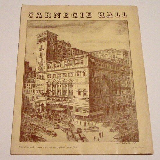 CARNEGIE HALL Original Concert Program 1937-38 * Grand Opera Guild * MINT