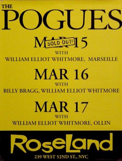 "THE POGUES Original Concert Poster * ROSELAND NYC * 17"" x 22"" Rare 2008 Mint"