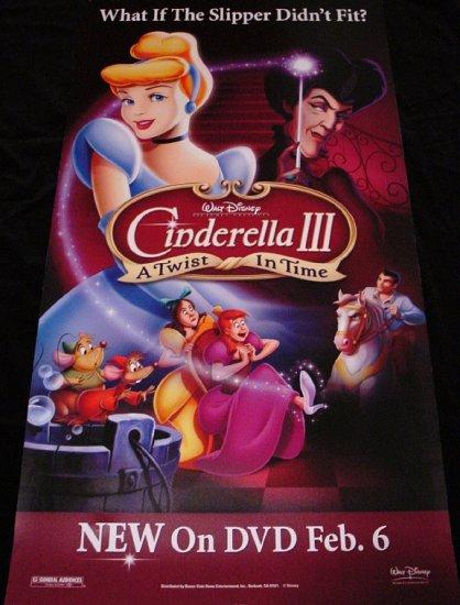 Walt Disney's CINDERELLA 3 * A Twist In Time * Original Movie Poster 2' x 4' Rare 2007 Mint