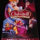 Walt Disney's CINDERELLA 3 * A Twist In Time * Original Movie Poster 2' x 4' Rare 2007 Mint