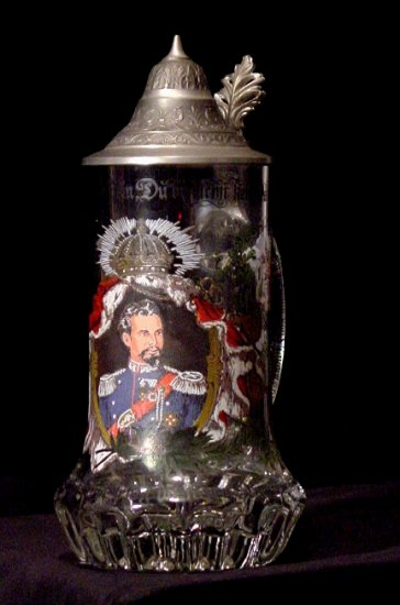 Vintage GERMAN Antique Glass Beer Stein w/ Pewter Lid * King Ludwig II * MINT