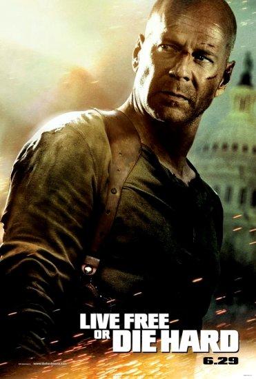 DIE HARD 4 Movie Poster * LIVE FREE or DIE HARD * BRUCE WILLIS 4' x 6' Rare 2007 NEW