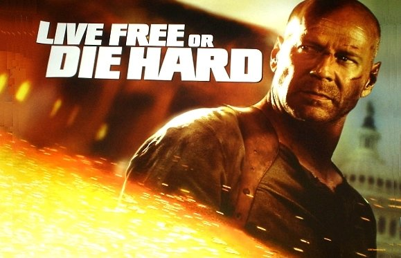 DIE HARD 4 Movie Poster * LIVE FREE or DIE HARD * BRUCE WILLIS 3' x 6' Rare 2007 NEW