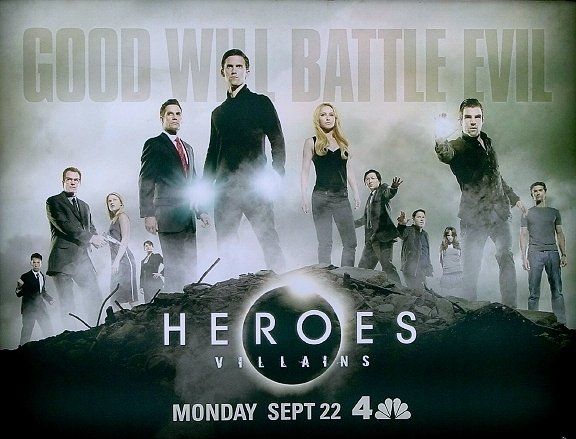 HEROES Poster * VILLAINS * NBC 4' x 5' Rare 2008 NEW