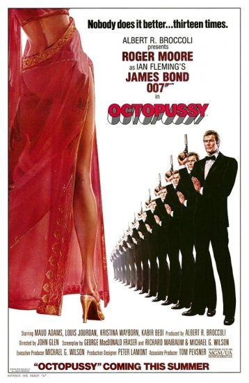 """James Bond 007 OCTOPUSSY Movie Poster * Roger Moore * 27""""x 40"""" Rare 1983 MINT"""