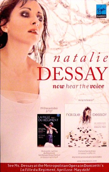 "NATALIE DESSAY Otiginal Music Poster * La FILLE & ARIAS * 14"" x 22"" Rare 2008 Mint"