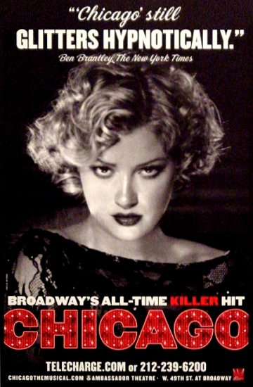 "CHICAGO Broadway Poster * GLITTER * 14"" x 22"" Rare 2008 NEW"