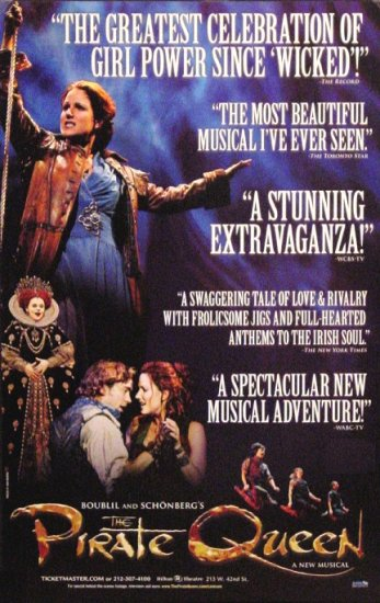 """THE PIRATE QUEEN Broadway Poster * CAST * 14"""" x 22"""" Rare 2007 NEW"""