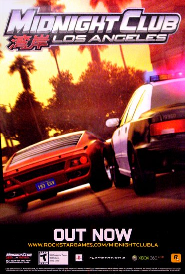 MIDNIGHT CLUB * Los Angeles * Game Poster XBOX 4' x 6' Rare 2008 MINT