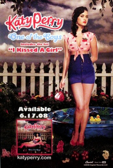 Katy Perry * I KISSED A GIRL * Original Music Poster 2' x 3' Rare 2008 NEW