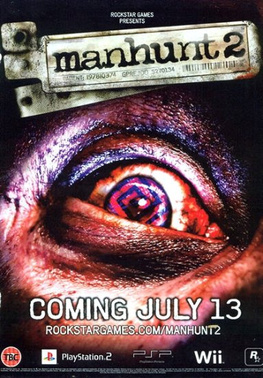 MANHUNT 2 Game Poster PSP XBOX 4' x 6' Rare 2008 MINT