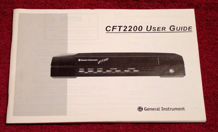 General Instrument CFT2200 Digital Cable Box * MANUAL ONLY * NEW