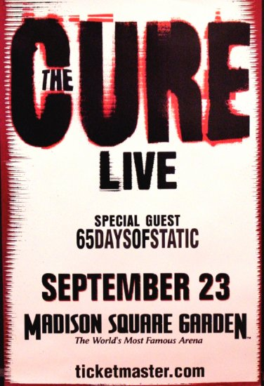 THE CURE Original Concert Poster 2' x 3' Madison SQ Garden NYC 2007 MINT