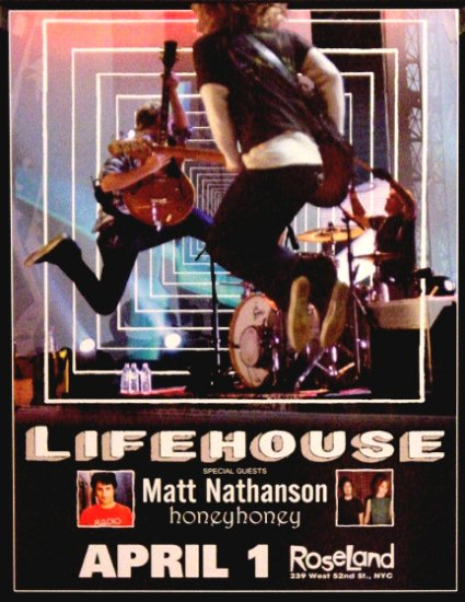 """LIFEHOUSE Concert Poster ROSELAND NYC 17"""" x 22"""" Rare NEW 2008"""