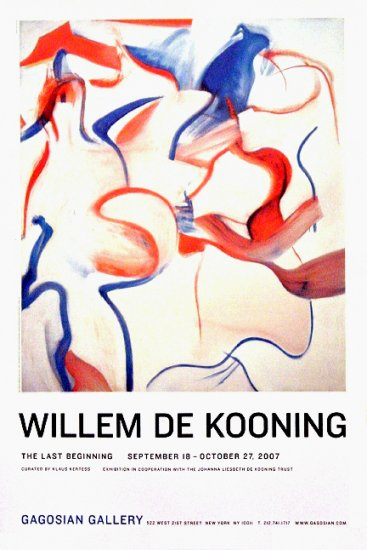 Willem De Kooning * THE LAST BEGINNING * Original Art Exhibition Poster NYC  2' x 3' Rare 2007 Mint