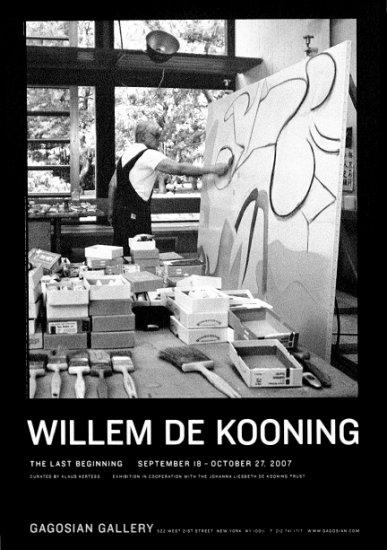 Willem De Kooning * THE LAST BEGINNING * Original Art Exhibition Poster NYC  2' x 3' Rare 2007 Mint