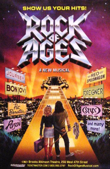 "ROCK OF AGES Original Broadway Poster 14"" x 22"" Rare 2009 NEW"