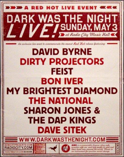 DARK WAS THE NIGHT Concert Poster * RADIO CITY NYC * 2' x 3' Rare 2009 Mint