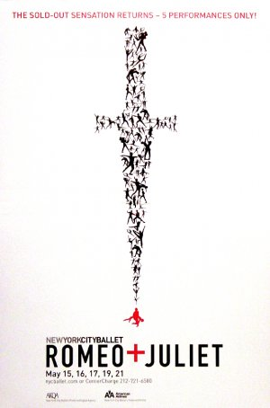 NYC BALLET Poster * ROMEO & JULIET * 2' x 3' Rare 2009 Mint