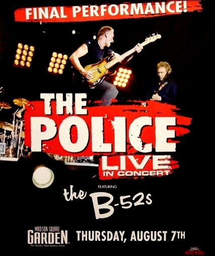 The Police FINAL CONCERT Poster Madison SQ Garden NYC 2' x 3' Rare 2008 NEW
