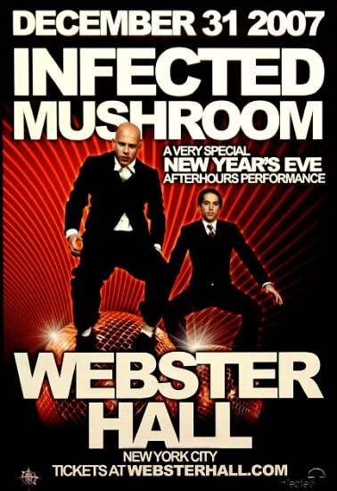 INFECTED MUSHROOM Original Concert Poster 2' x 3' Webster Hall NYC Rare 2007 Mint