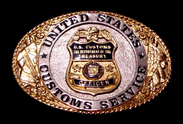 U.S. Customs Service Officer Limited Edition 24k Gold Belt Buckle MINT