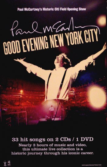 paul mccartney good evening new york music poster 14 x 22 rare 2009 new. Black Bedroom Furniture Sets. Home Design Ideas