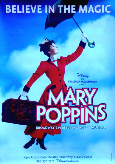 Disney's MARY POPPINS Original Broadway Poster 4' x 6' Rare NEW 2010